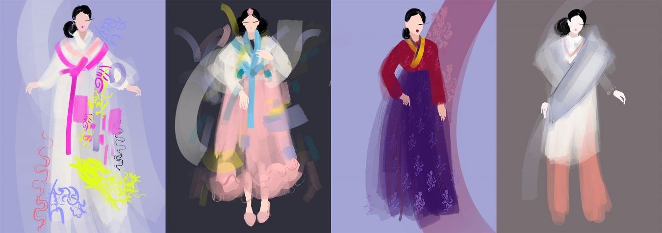 The Hanbok created were captured in these stunning illustrations by Erasmus student Nataliya Grimberg.