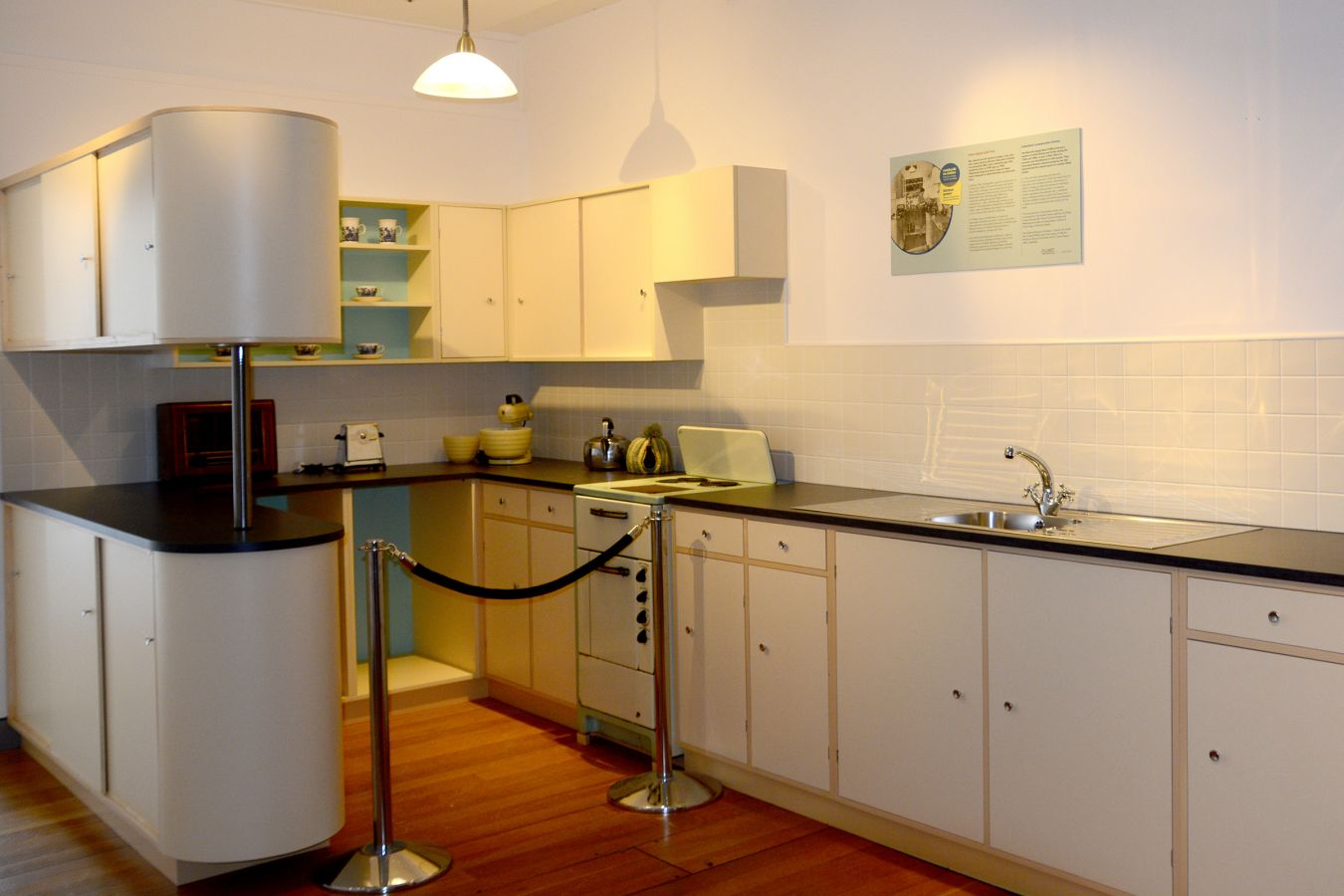 Reconstruction of a 1950s ESB/ICA model kitchen built from historical photographs by Phillip Carey, a furniture design student at Galway-Mayo Institute of Technology.