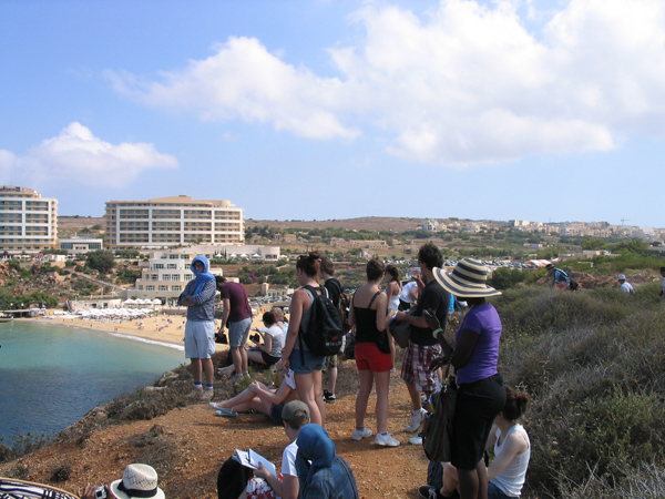 Stuart briefing students on a sketching exercise (on the NW coast of Malta the main island)