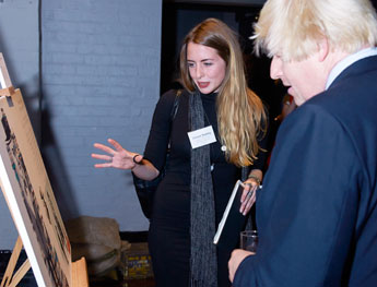 Fashion student Stefanie Tschirky talks London Mayor Boris Johnson through her work.