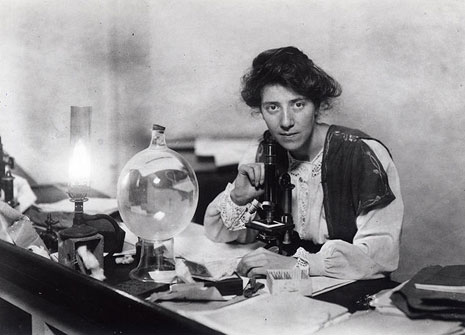 Palaeobotanist and campaigner for women's rights Dr Marie Stopes in her laboratory in 1904.