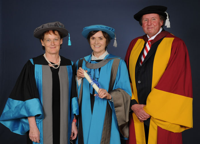 Dame Moira attended a graduation ceremony at London's Royal Festival Hall alongside Professor Fiona Ross and Dr Ray Jones.