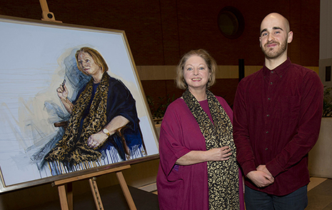 Kingston University fine art graduate Nick Lord with author Hilary Mantel and the completed portrait now hanging in the British Library.