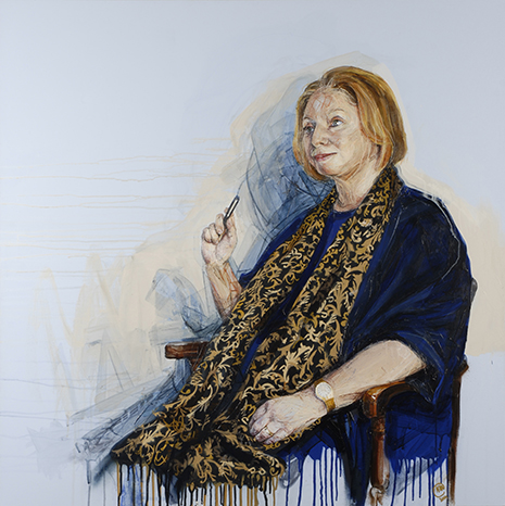 Hilary Mantel's portrait is the only one of a living author on public display in the British Library and will become part of its permanent art collection.