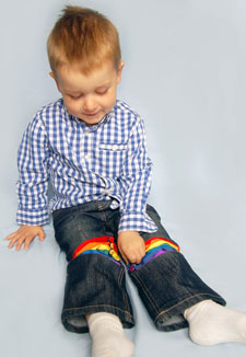 Graphic designer Fiona Casey designed a pair of expandable jeans for children.