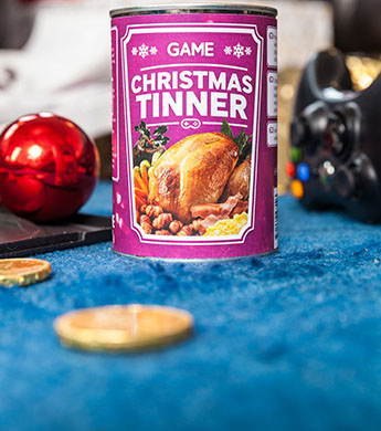 Graphic design student Chris Godfery has cooked up the concept for a Christmas dinner in a tin to satisfy hungry games enthusiasts.