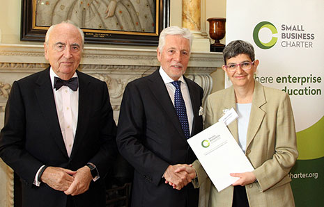Dr Martha Mador picked up the Small Business Charter Award for Kingston Business School from Government small business adviser Lord Young (left) and Sir Peter Bonfield, chair of The Small Business Charter Management Board.