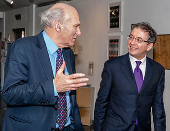 Dr Vince Cable MP spoke to Professor Rob Blackburn, head of Kingston's Small Business Research Centre, about the future of entrepreneurs during a recent visit to the University's Knights Park campus.
