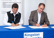 Dr Achyuta Samanta (left), Founder of the KIIT and the Kalinga Institute of Social Studies and Kingston Vice-Chancellor Professor Julius Weinberg hope the new agreement will lead to opportunities for students from India and from the United Kingdom to learn from each other.