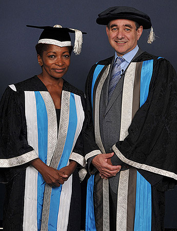 New Kingston University Chancellor Bonnie Greer with Vice-Chancellor Professor Julius Weinberg at her inauguration ceremony.