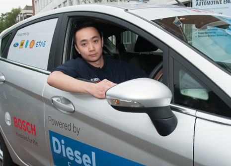 Andy Ng takes the wheel for the Formula Student eco-driving challenge