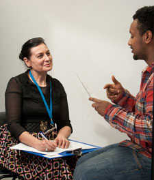 Principal lecturer Beattie Dray interviews first year nursing student Sam Berhanu.
