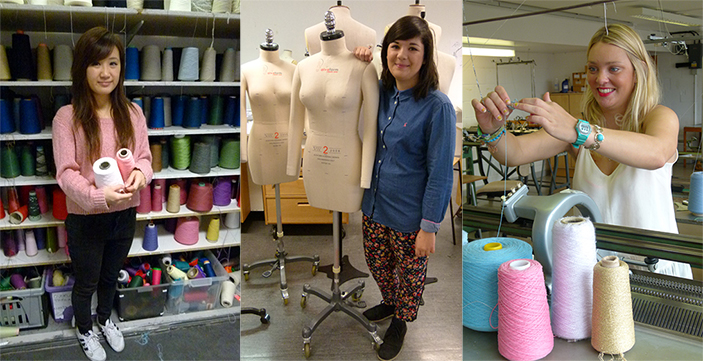 Students, from left, Siobhan Tsang, Trina Outram and Rebecca Partington have been creating a stir on the High Street with their knitwear designs.