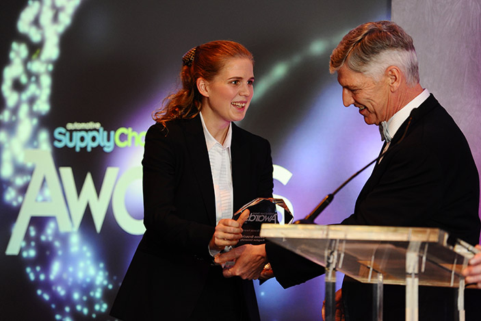 Final year Master of Engineering student Sabine Brosch received her trophy from Ford executive Stephen Harley at the  Automotive Supply Chain award ceremony.