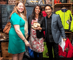Nicola Tandy (left), Director of Gaeia financial advisers specialising in ethical investments) who sponsored Entrepreneur of the Year, Shruti Barton (centre) and Phaldut Sharma (AJ from Eastenders) who was the compère for the evening