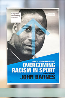 John Barnes' talk drew a large crowd to the Penrhyn Road campus.