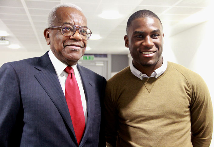 Marketing and advertising student Kudus Suleman was thrilled to meet Sir Trevor McDonald.