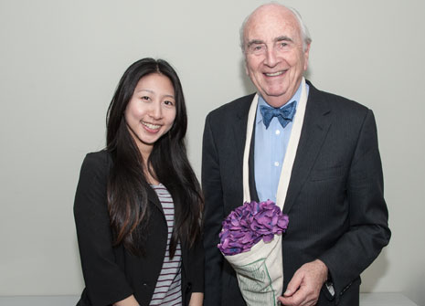 Lord Young with Kingston MA student Daisy Wang, whose team were behind the Pozzy reusable flower holder.