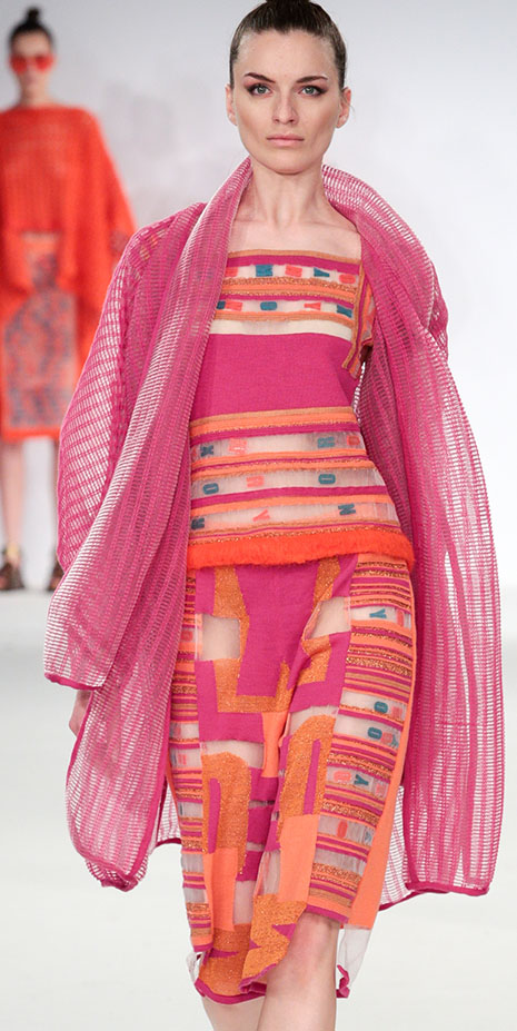 Kingston University fashion student Camille Hardwick settled on vibrant shades of sunset orange and hot fuchsia for her striking range of sophisticated womenswear showcased during Graduate Fashion Week.