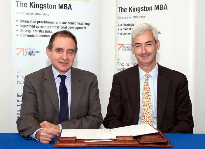 Kingston University Vice-Chancellor Professor Julius Weinberg, left, and James Pitman of Study Group say the new course will allow people to achieve an MBA delivered by a leading business school.
