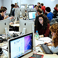 Students using computing facilities