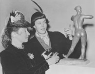 Dora Gordine with one of her models, Joan McFadyean, Leicester Galleries, October 1949