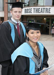 Science graduates, Gareth Clubb and Vanezza Zabert were awarded their degrees in a ceremony at the Rose Theatre
