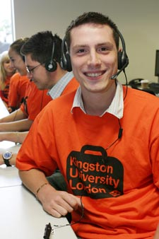 Kingston University Clearing hotline operator Shaun Walker gets ready to offer help and advice.