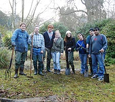 Kingston University volunteers (from left to right) John Fellowes, Tim Stafford, Jack Davison, Lynsey Stafford, Nicola Corrigan, Nicola Archer, Martin Crosby and Asif Venkata Mohamed all pitched in to clear the pond.