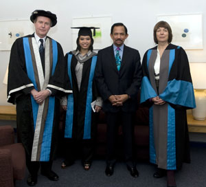 Dignitaries gathered for the Kingston University graduation ceremony including (from left to right) Kingston University Vice-Chancellor Professor Peter Scott, Princess Fadzilah Bolkiah, the Sultan of Brunei, His Majesty Hassanal Bolkiah and Professor Gail Cunningham, Dean of the Faculty of Arts and Social Sciences.