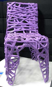 Chair made from recycled plastic shopping bags by Richard Liddle of Newcastle-upon-Tyne based Cohda Design.