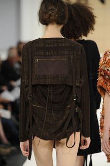 Grace Melville fitted the backs of some of her outfits with zips and long straps reminiscent of rucksacks