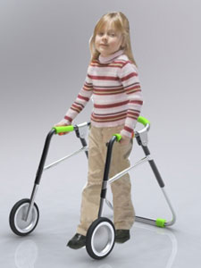 The PSR walker for disabled children, by Daniel Rawlings, is designed to resemble a toy and folds for attachment to a wheelchair.