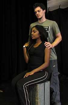 Aretha Ayeh as Guinevere and Patrick Oldham as Sir Malaigaunce, in a rehearsal for Pendragon, to be performed at the International Youth Arts Festival.