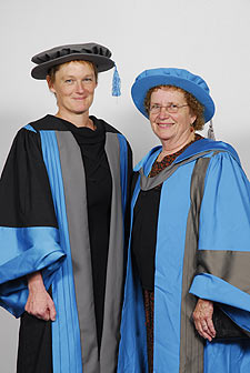 Professor Fiona Ross, Dean of the Faculty of Health and Social Care Sciences (left), and Professor Shirley Smoyak.