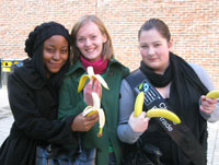 Geography students (from left to right) Grace Okala, Alicja Wojciechowska and Emma Tautz get one of their five-a-day.