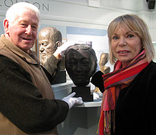 Kingston Association for the Blind volunteers Kenneth Richards, left, and Yvonne Hendry guided members around Dora Gordine's artworks during their visit to Kingston Museum.