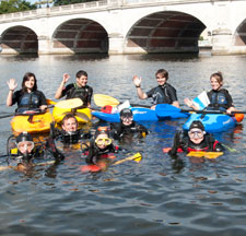 Kingston University students prepare to dive for rubbish in the Thames.