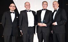Alan Rayner, second left, collects the Independent Healthcare Award for Best Medical Practice with consultant cardiologist Dr Cliff Bucknall, second right, from author and broadcaster Gyles Brandreth, far right, and Dr Jean-Jacques de Gorter (Spire Healthcare), far left.