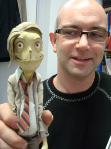 Andy Gent with one of the many puppets he has created over the years.
