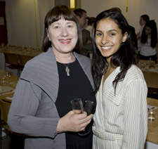 Professor Catherine McDermott with MA Curating Contemporary Design graduate Ariana Mouryalis who organised the dinner.
