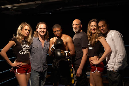 Daniel Bailey far right with actors and production crew from The Boxer. Image - Graham Michael.