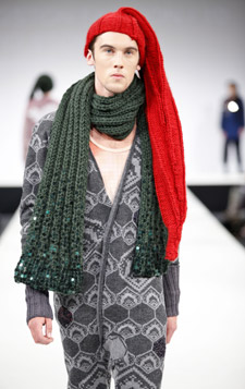 David Stoneman Merret's collection included knitted sleep suits and chunky scarves and hats.