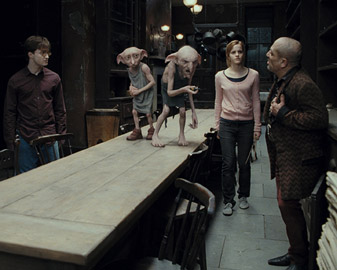 Christian's creations, Dobby and Kreacher meet Harry, played by Daniel Radcliffe, and Hermione, played by Emma Watson. Image courtesy of Framestore and Warner Bros