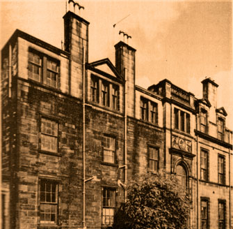 Rare find, exterior photograph of the Glasgow Hospital.