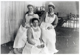 A group of young nurses at the Glasgow Hospital for Sick Children.