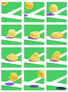 James Jessiman's design shows the movement of a tennis ball as it strikes the ground at more than 100mph.