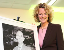 Ms Humble, who discovered her aviation heritage on BBC TV programme, with a picture of Sir Sydney Camm