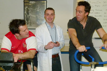 L-R Absolute Radio presenter Richie Firth with Dr Chris Easton and Christian O'Connell in the exercise physiology laboratory at Kingston University.