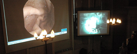 An image from Endo-Ecto, a performance by Phillip Warnell, Kingston University's Director of Film-making